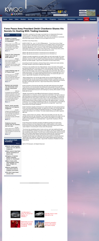 Forex Peace Army - KWQC NBC-6 (Davenport, IA)- Traders Insomnia Help Method