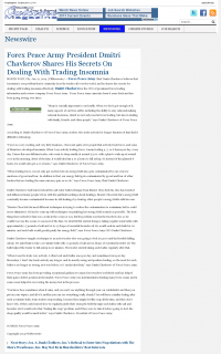 Forex Peace Army -  Outcome Magazine - Traders Insomnia Help Method