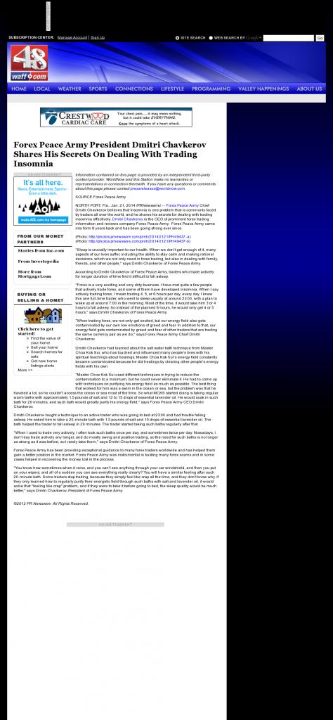 Forex Peace Army - WAFF NBC-48 (Huntsville, AL)- Traders Insomnia Help Method