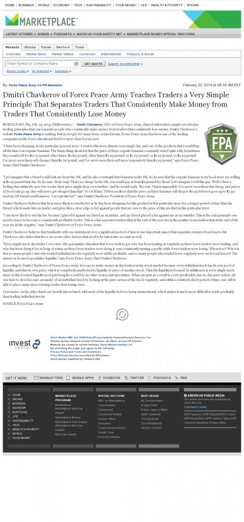 Dmitri Chavkerov - Marketplace from American Public Media- Trading Instrument