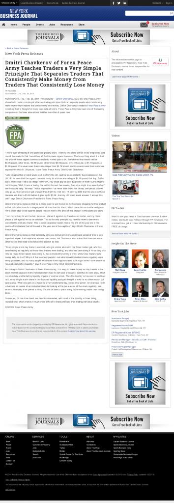 Dmitri Chavkerov - New York Business Journal- Trading Instrument